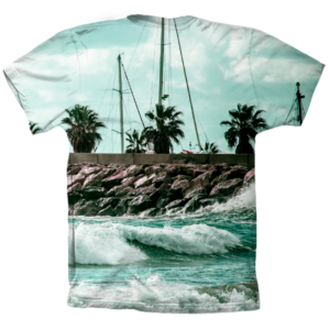 camiseta manga corta. tropical surf black