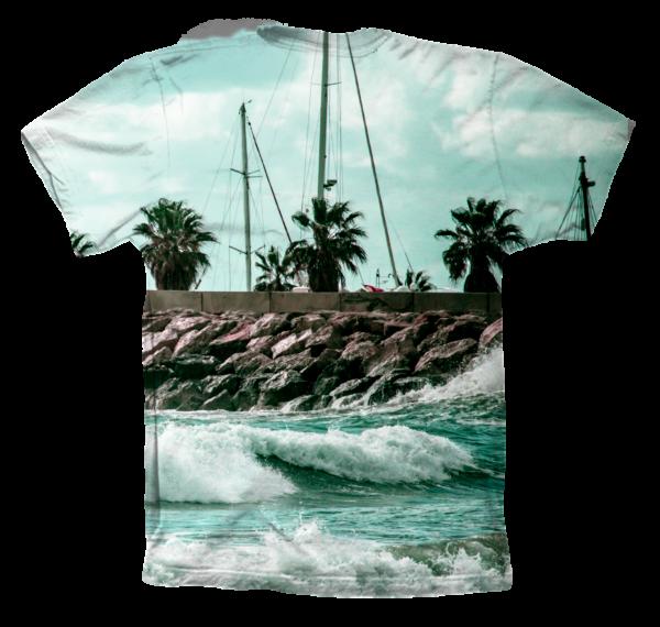 camiseta manga corta. tropical surf black